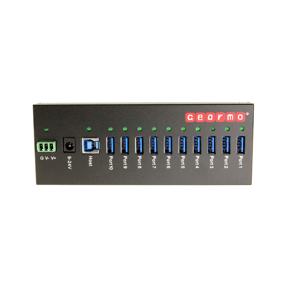 USB 3.0 10 Port Industrial Metal Hub w/15KV ESD Protection & Mounting