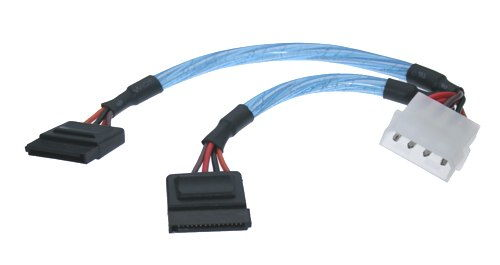 4-Pin Molex Power Y-Cable  to SATA Power Adapter  15-Pin