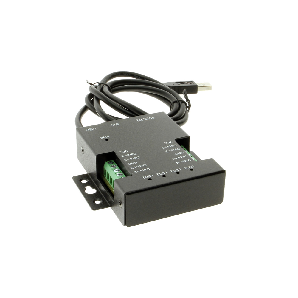 4 Port USB to RS485 High Speed Adapter w/12V DC Power Supply