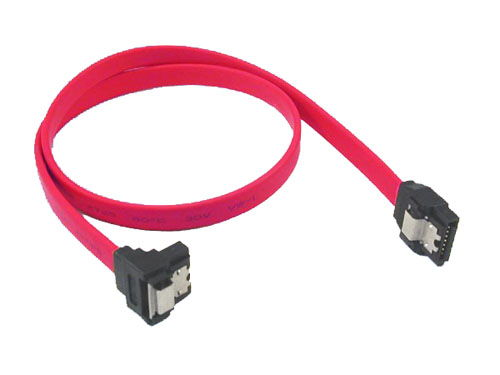 7-pin internal SATA angled end cable with metal latch