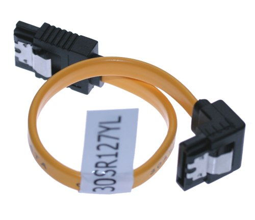 13 Inch SATA II 3Gb/s Latching Cable 30AWG Right to Straight SATA 2