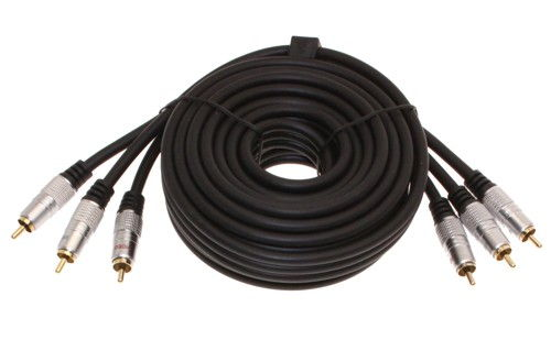 Component Video Cable 6ft. 3 RCA to 3 RCA Hi-Quality Gold Plated and Shielded Cables