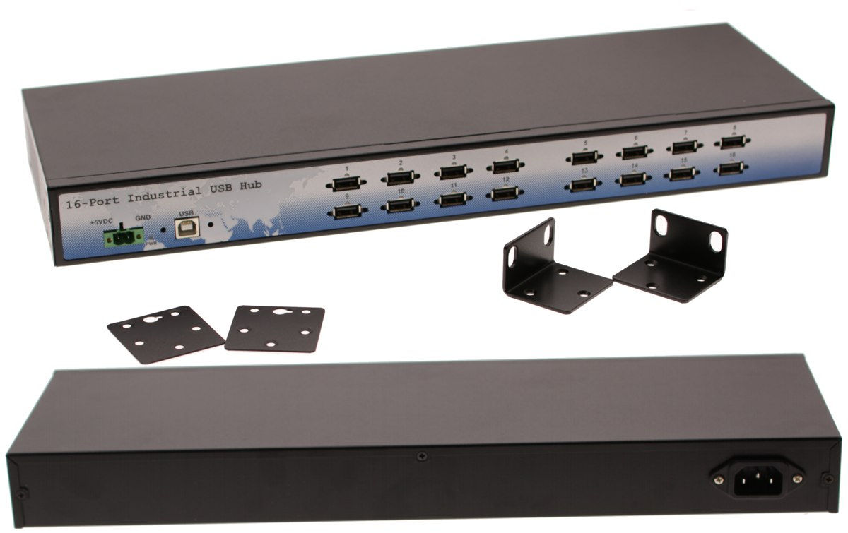 Industrial 16-Port USB 2.0 Rack Mount Hub with Built-in Power Supply - industrial-grade USB Hub Rack Mount