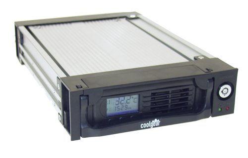 Black  5.25-inch Serial ATA LCD Readout Removable Hard Drive Enclosure