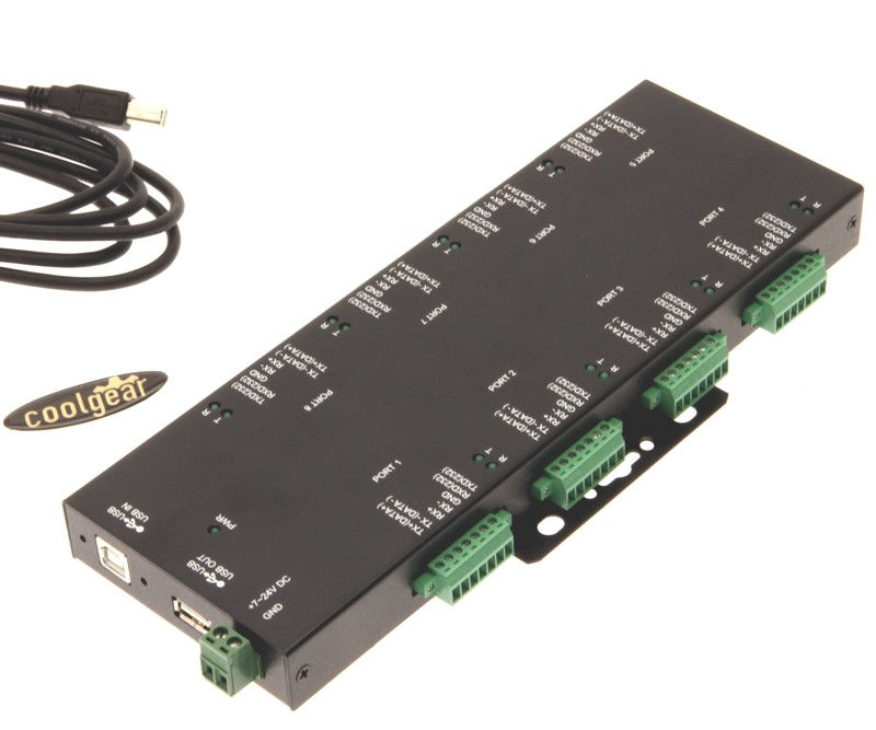 Rugged Industrial 8-Port Terminal Block RS232/422/485 to USB Adapter