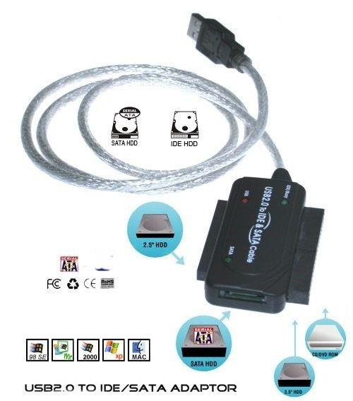 USB2.0 to SATA and IDE Bridge Adapter / Converter Cable for S-ATA and ATA IDE Hard Drives