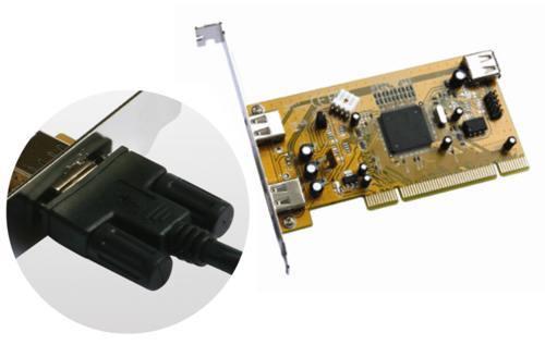 Industrial 2+1 Port USB 2.0 PCI  Host Adapter w/ Screw Lock