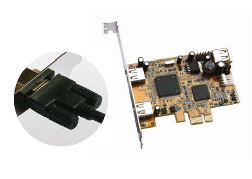 Industrial 2+1 Port USB2.0 PCI Express Host Adapter w/ Screw Lock