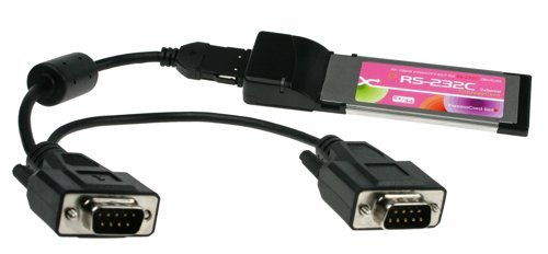 Two Port RS-232 ExpressCard DB-9 Dongle for New Laptops