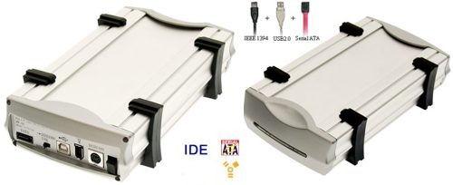 USB 2.0 + Firewire + SATA Output 3.5 Aluminum Native SATA or IDE HDD Enclosure