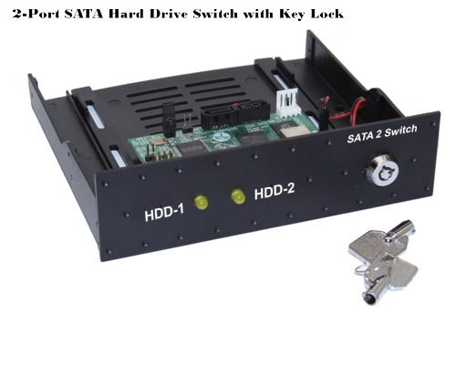 2 Port SATA II Switch 5.25 Inch Bay Mount Design With KeyLock and LEDs