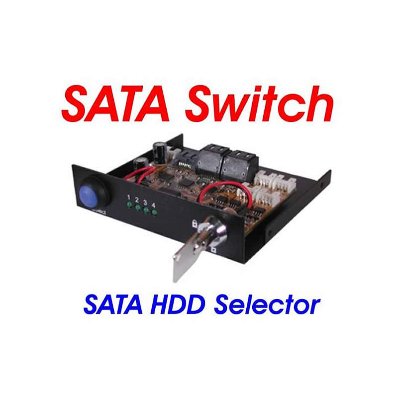 4 Port SATA III Switch 3.5inch Bay Mount Design With KeyLock and LED