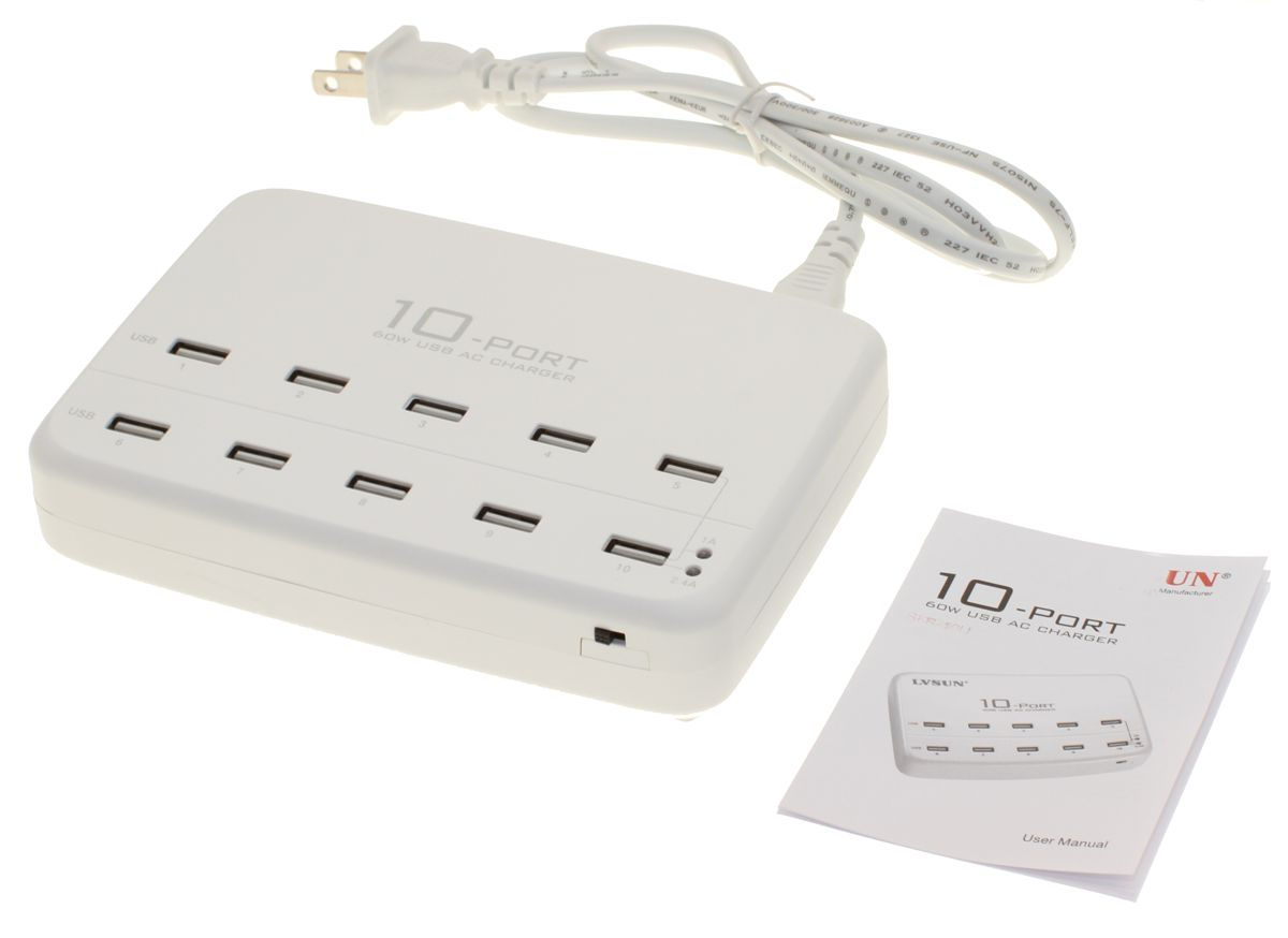 10 Ports Universal USB AC Charger Hub with internal Adapter 60W 5x2.1A Max -