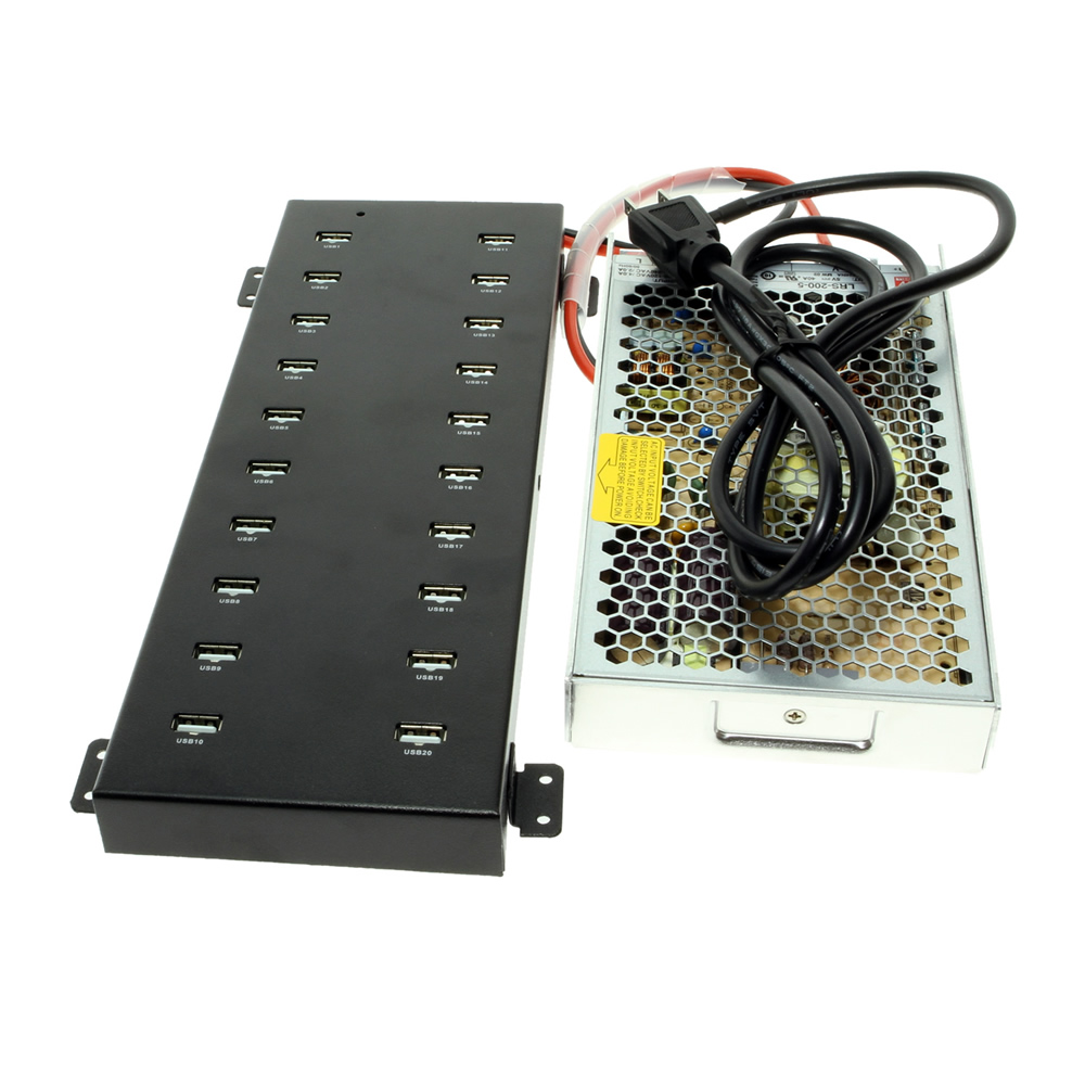 USB 20 Port Charging Station with Attached 5V 40A Power Supply