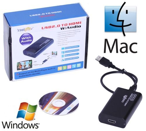 USB to HDMI Converter Single Cable USB to TV/LCD/Plasma Solution for MAC/XP/Vista and Windows 7