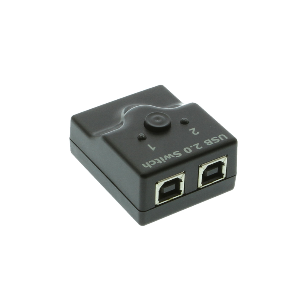 Black mini switch 2-Port A/B USB 2.0 Manual Switch with Two 6ft.Cables