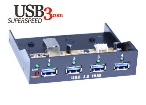 Internal Bay USB 3.0 4-Port VIA USB 3.0 SuperSpeed Chip Hub with LED