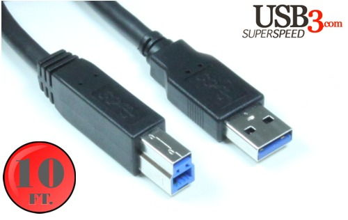 10ft. A to B USB 3.0 Super High Speed Device Cable Black