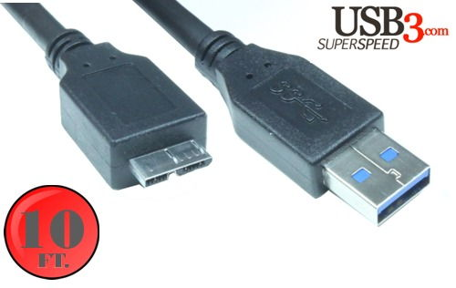 10ft. USB 3.0 5Gbps Type A Male to Micro-B Male Cable -  Black