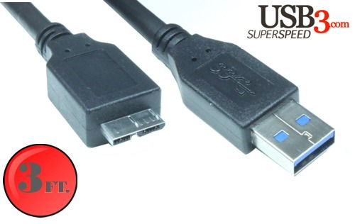 3ft. USB 3.0 5Gbps Type A Male to Micro-B Male Cable -  Black