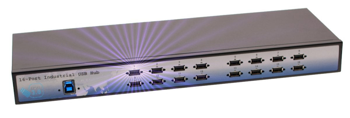 Industrial 16-Port USB 3.0 Rack Mount Hub with 280 Watt power built in