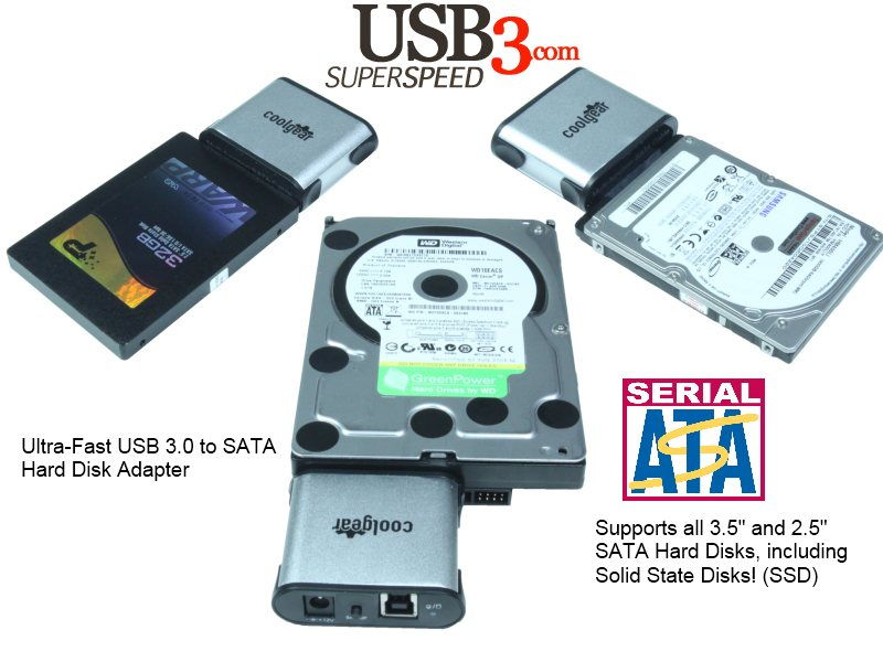 USB 3.0 to SATA Hard Drive Adapter for 2.5/3.5/SSD Drives