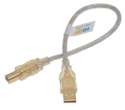 Clear USB Cable A to B, 12 inch High-Speed USB 2.0 Gold Plated