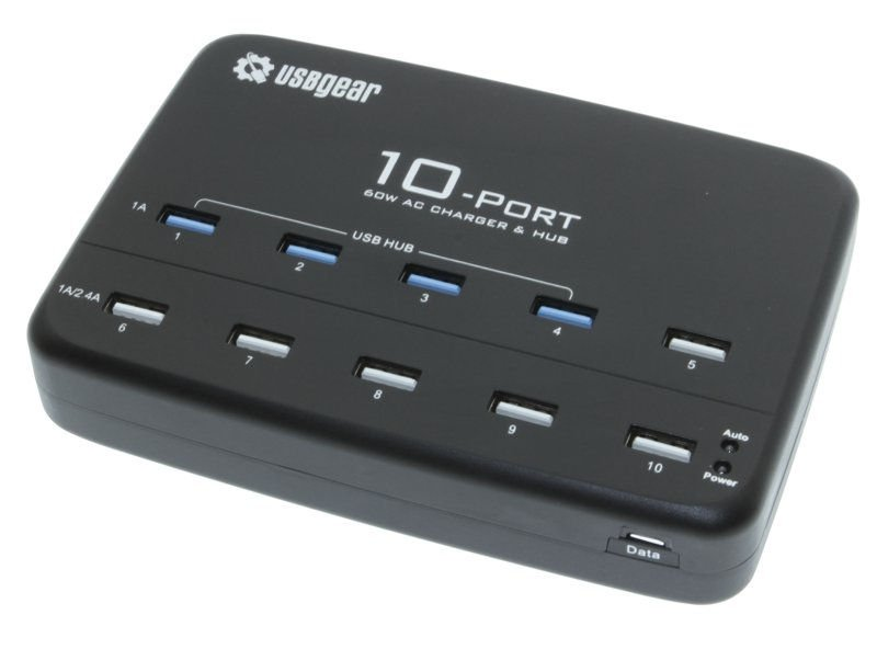 10 Port USB AC Charger with 4-port USB Hub and internal Adapter 60W