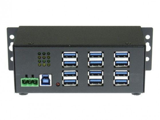 Industrial 12-Port USB 3.0 Powered Hub for PC-MAC  DIN-RAIL Mount