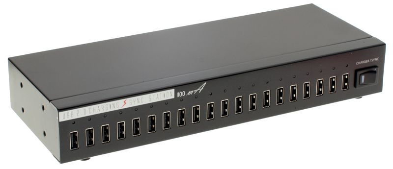 Industrial 20-Port USB 2.0 High Power Charger/Hub with up to 1.1A Charging Current per port