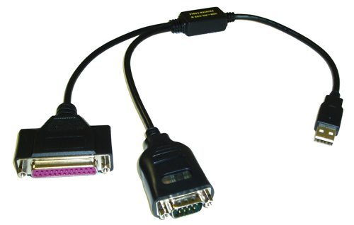 USB 2 Port 1xSerial DB-9 RS-232 and 1xDB-25 Parallel Printer Adapters with Prolific Chipset