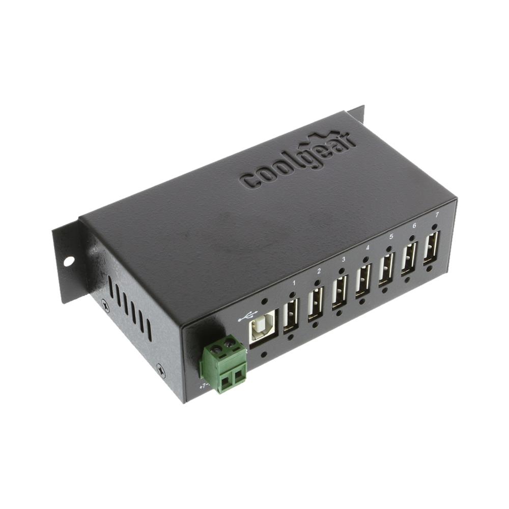 Surge Protected Metal 7-Port USB 2.0 Hub w/ DIN RAIL Mounting Kit Japan NEC Chip