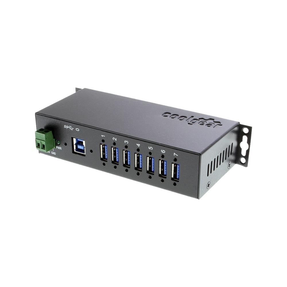 USB 3.0 7-Port Industrial Hub Metal Case Din-Rail GL Chip 1.5Amp Output
