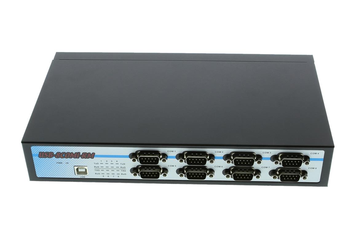 USB-8COMi-RM USB to Octal RS-232/422/485 adapter metal case w/DIN-Rail