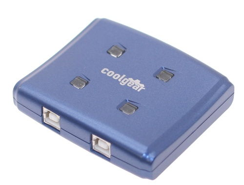 Blue USB switch with USB 2.0 high speed allows 4 computers to 1 device