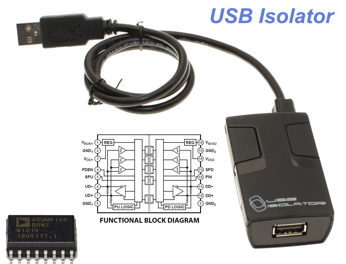USB Isolator ADuM4160 Inside up to 5000V DC Isolation and Protection