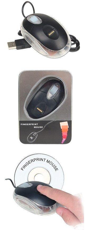 USB Optical Mouse w/Integrated Biometric Fingerprint Reader