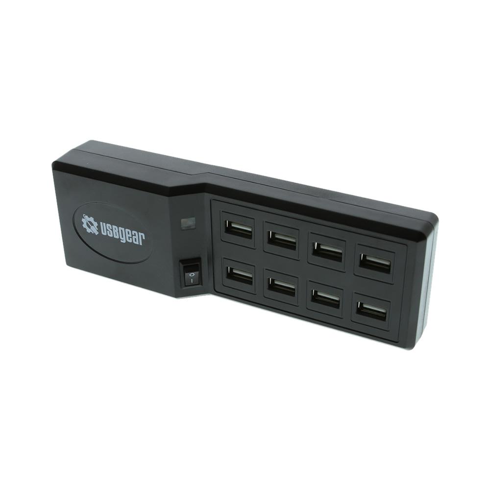 USB 8 Port Tabletop Black USB Fast Charging Charger