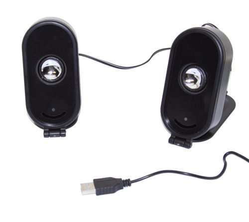 Very Portable USB 2.0 Speakers for Laptops (with Built-In Sound Card)