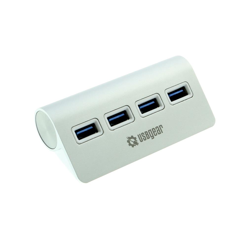 USBGear 4-Port USB 3.0 Data Hub Sleek Silver for Laptop Applications