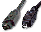 9-pin to 4-pin FireWire 800 - FireWire 400 cable 6ft
