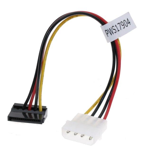 SATA Power Cable Adapter Molex to SATA 15-pin Power Right Angle