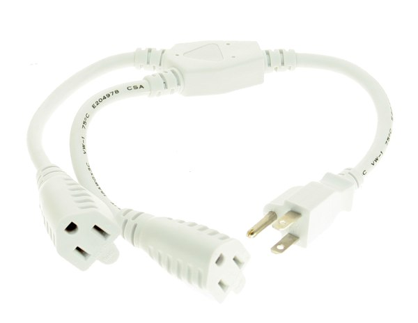 White 16-inch UL Listed Power Y-Cable Computer Power Cable