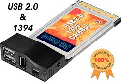 ALI CHIP USB 2.0 + Firewire 1394 PCMCIA CARDBUS Notebook/Laptop Adapter