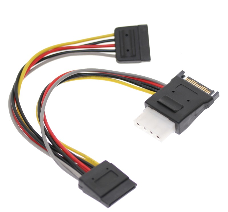 SATA Power Splitter Cable with Molex 4-Pin Output and Dual 15-pin Sata Output 7 inch cables