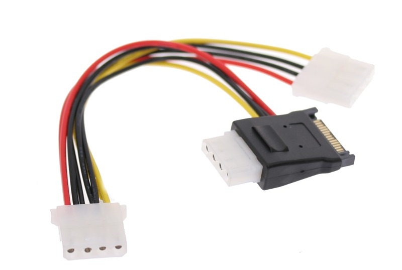 SATA Y Power Adapter Cable Splitter with 3-Molex Power outputs from One SATA Power Input