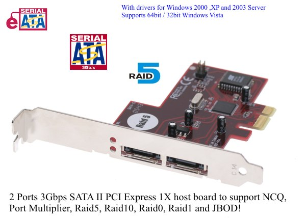 2 Port eSATA PCI-Express RAID5 SATA II – 3Gbps External Dual Ports PCI-Express Host (Raid 5, 0, 1,10 & JBOD)