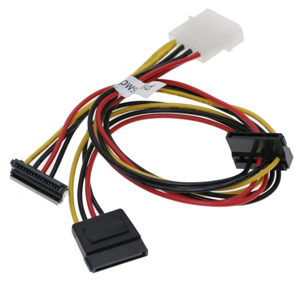 SATA Y Power Cable, THREE SATA Power 15-pin Cable Adapter from One MOLEX 4-pin Power Input Plug