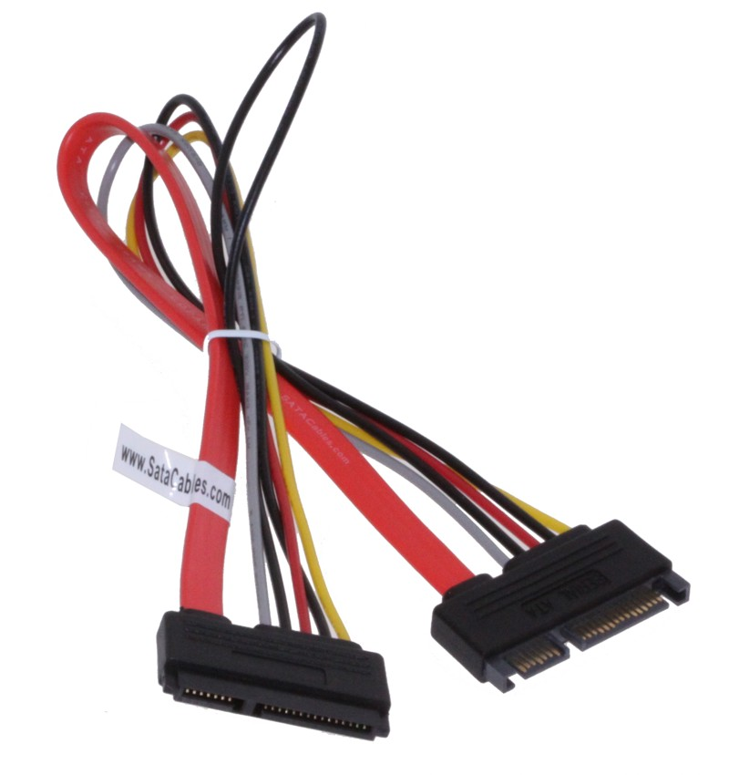 20 inch 22 pin male to female power and data sata extension cable