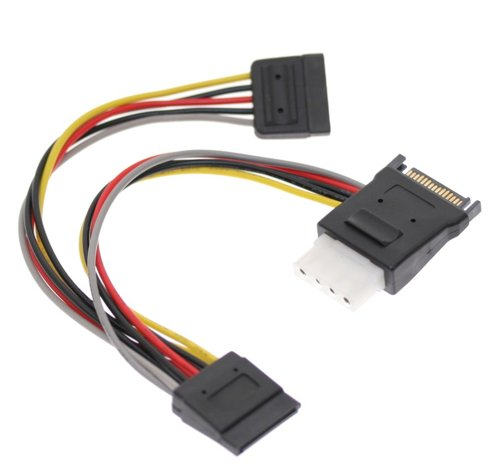 SATA Power Splitter Cable with Molex 4-Pin Outptu and Dual 15-pin Sata Output 7 inch cables
